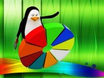 3d与圆形统计图表例证的企鹅 免版税图库摄影