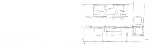 3d与圆的敞篷的现代厨房内部略图在白色长的背景 向量例证