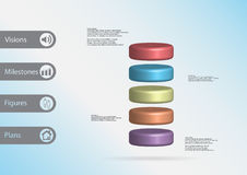 3D与圆筒的例证infographic模板水平地被划分对五个颜色切片 库存照片