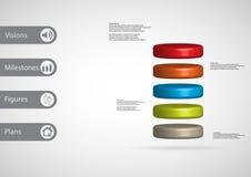 3D与圆筒的例证infographic模板水平地被划分对五个颜色切片 库存例证