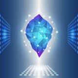 3D与圈子、线和形状的蓝色抽象滤网背景 免版税库存照片
