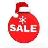 3d与圣诞老人帽子的圣诞节销售 免版税图库摄影