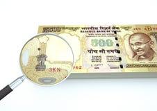 3D与在白色背景调查货币隔绝的放大器的被回报的印度金钱 向量例证