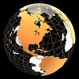 3d与大陆和子午线的地球 库存照片