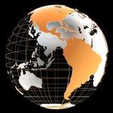 3d与大陆和子午线的地球 免版税库存图片