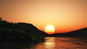 3D与小山和湖的日落风景 免版税库存照片