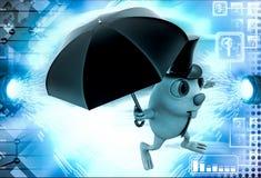3d与帽子和伞例证的兔子 库存图片