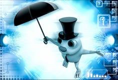 3d与帽子和伞例证的兔子 库存照片