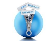 3d与开放的拉链和企业概念的蓝色球 库存照片