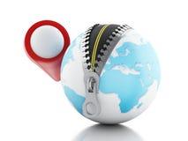 3D与开放的拉链和地图尖的地球 免版税库存图片