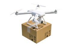 3d与摄象机和包裹的飞行寄生虫 免版税库存照片