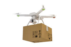 3d与摄象机和包裹的飞行寄生虫 免版税库存图片