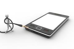 3d与时髦的人象的图表在一个巧妙的电话 免版税库存照片