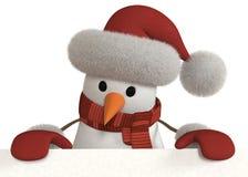 3d与标志的雪人 免版税库存图片