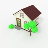 3d与树的房子象的图片 免版税库存照片