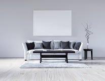 3d与沙发的例证空的白色内部,空的墙壁,最低纲领派客厅,黑和灰色枕头,轻的沙发,蓬松汽车 免版税库存图片