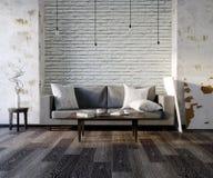3d与沙发的例证空的白色内部,空的墙壁,最低纲领派客厅,黑和灰色枕头,轻的沙发,蓬松汽车 向量例证