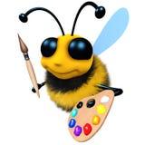 3d与油漆刷和调色板的滑稽的动画片蜂蜜蜂字符 免版税库存照片