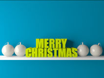 3d与球的圣诞节文本在屋子里 免版税图库摄影