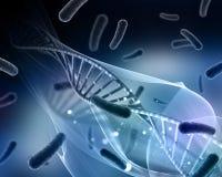 3D与病毒细胞和脱氧核糖核酸子线的医疗背景 免版税库存照片