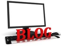 3d与空白的白色屏幕的计算机显示器和红色词blog 库存图片