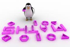 3d与算术字体概念的企鹅 免版税库存图片