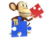 3d与红色和蓝色难题片断的逗人喜爱的猴子 免版税库存照片
