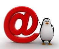 3d与红色e邮件象概念的企鹅 免版税库存图片