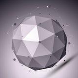 3D与线和小点的抽象球状对象在黑暗的backg 库存照片