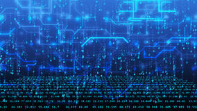 3D与蓝色数字和高科技线的网际空间 皇族释放例证