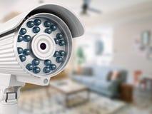 3d与被弄脏的室的安全监控相机 免版税图库摄影