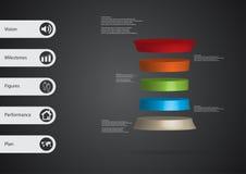 3D与被扭屈的圆筒的例证infographic模板水平地被划分对五个颜色切片 免版税库存照片