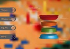 3D与被扭屈的圆筒的例证infographic模板水平地被划分对四个颜色切片 免版税库存照片