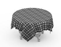 3d与被盖的格子花织品布料的桌 免版税库存图片