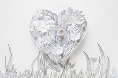 3d与被绘的叶子的在白色背景的纸花和词根 免版税库存照片