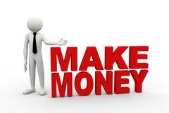 3d与词的商人挣金钱 免版税库存图片