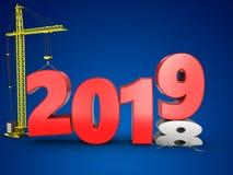 3d与起重机的2019年 库存图片