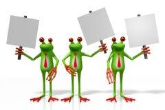 3D与路标的青蛙 库存照片
