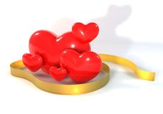 3d与金丝带的多红色心脏 免版税库存图片