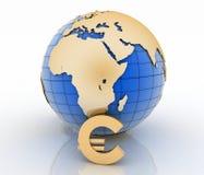 3d与金子欧洲标志的地球在白色 免版税库存照片