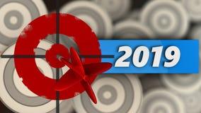 3d与2019年标志的被绘的目标 免版税库存图片