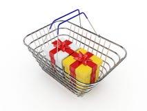 3d与-被隔绝的白色和黄色箱子的圣诞节篮子 免版税库存照片