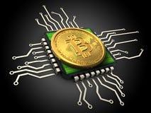 3d与cpu的bitcoin 库存照片