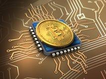 3d与cpu的bitcoin 免版税库存照片