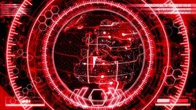3D与HUD接口的红色转动的行星地球HoloMatrix 向量例证