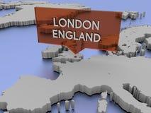 3d世界地图例证-伦敦,英国 免版税图库摄影