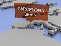 3d世界地图例证-巴塞罗那,西班牙 免版税库存照片