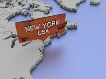 3d世界地图例证-纽约,美国 库存图片