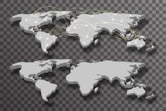 3d世界地图阴影光连接透明背景传染媒介例证 库存照片