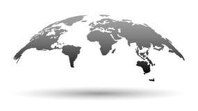 3D世界的地图在灰色颜色的 库存照片